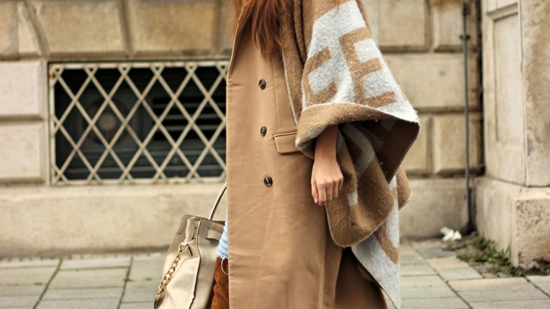 Beige Coat & Cape/ The Answer to the Secret of Life