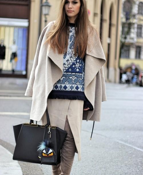 Munich Streetstyle w/ Tory Burch Sweater, Fendi 3jours Bag and Overtheknee Boots