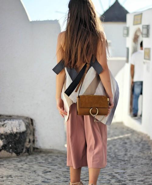Santorini Streetstyle w/ Zara Culottes and Chloe Faye Bag