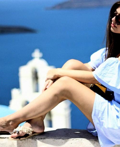 Santorini Streetstyle w/ Zara Off-Shoulder Dress and Asos Cat-Eye Shades