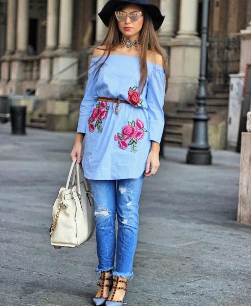 Milan Streetstyle w/ Valentino Rockstud Heels and Fringe Jeans