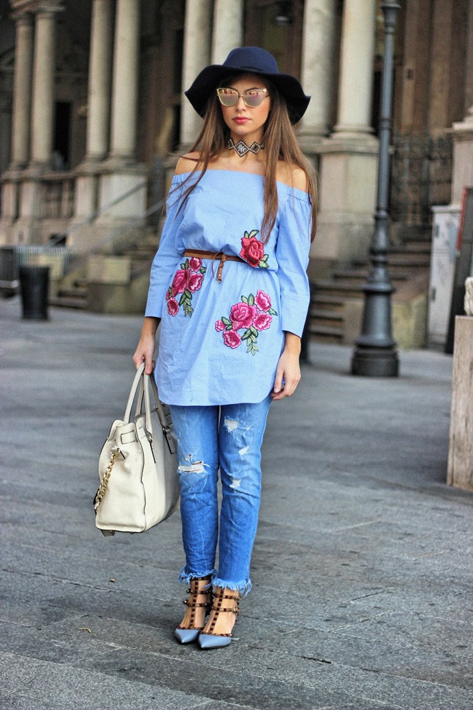 Milan Streetstyle w/ Valentino Rockstud Heels and Fringe Jeans